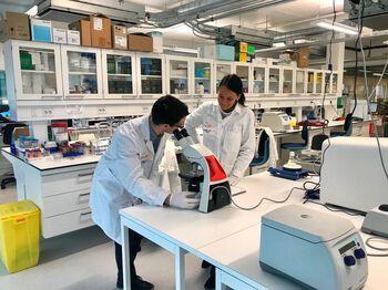 Et laboratorium med en forsker i bevegelse